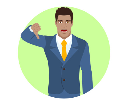 rejection: Businessman showing thumb down gesture as rejection symbol. Portrait of Black Business Man in a flat style. Vector illustration.