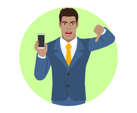 Businessman holding a mobile phone and showing thumb down gesture as rejection symbol. Portrait of Black Business Man in a flat style. Vector illustration.