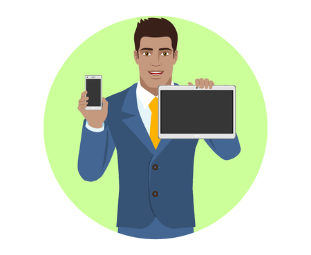 diaspora: Businessman holding mobile phone and digital tablet PC. Portrait of Black Business Man in a flat style. Vector illustration.