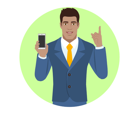 diaspora: Businessman holding mobile phone and pointing up. Portrait of Black Business Man in a flat style. Vector illustration.