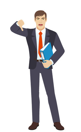 rejection: Businessman holding a folder and showing thumb down gesture as rejection symbol. Illustration