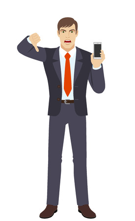 rejection: Businessman with mobile phone showing thumb down gesture as rejection symbol.