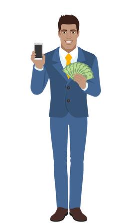diaspora: Businessman holding mobile phone and money on white background. Illustration