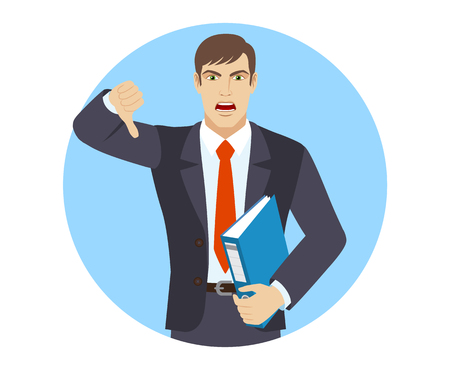 rejection: Businessman holding a folder and showing thumb down gesture as rejection symbol. Portrait of businessman character in a flat style. Vector illustration. Illustration