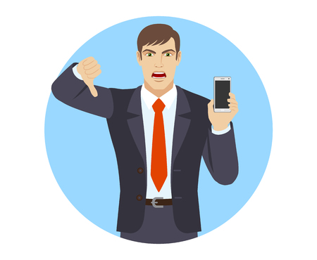 rejection: Businessman with mobile phone showing thumb down gesture as rejection symbol. Portrait of businessman character in a flat style. Vector illustration.