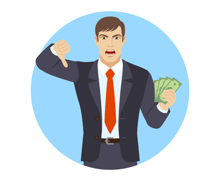 rejection: Businessman with cash money showing thumb down gesture as rejection symbol. Portrait of businessman character in a flat style. Vector illustration.