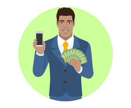mobile marketing: Businessman holding mobile phone and money. Portrait of Black Business Man in a flat style. Vector illustration.