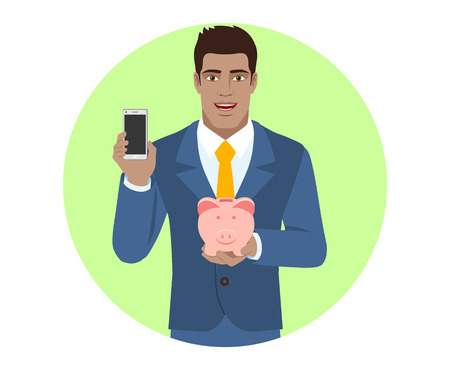 mobile marketing: Businessman holding mobile phone and piggy bank. Portrait of Black Business Man in a flat style. Vector illustration. Illustration