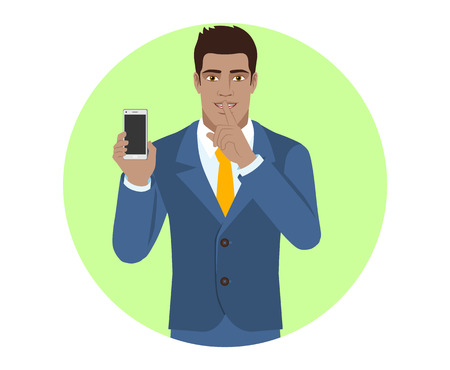 mobile marketing: Hush hush. Businessman holding mobile phone and shows hush-hush sign. Portrait of Black Business Man in a flat style. Vector illustration.