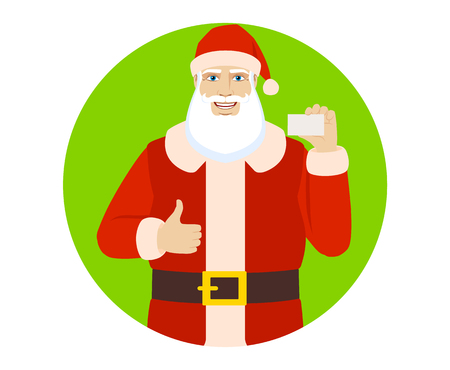 Santa Claus showing thumb up and showing the business card. Portrait of Santa Claus in a flat style. Vector illustration.
