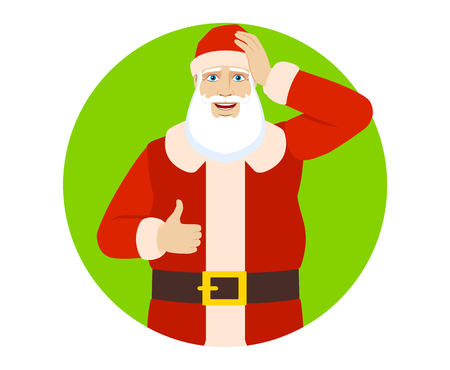 Santa Claus showing thumb up and grabbed his head. Portrait of Santa Claus in a flat style. Vector illustration. Illustration