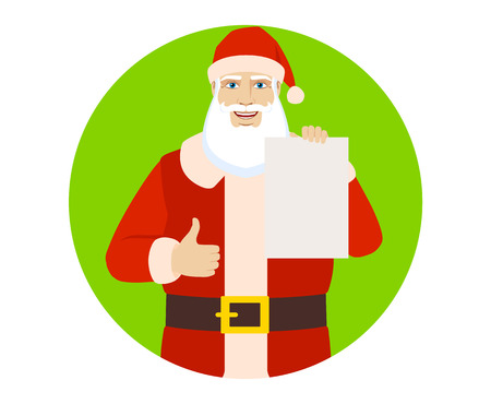 confirmed: Santa Claus showing the blank paper and showing thumb up. Portrait of Santa Claus in a flat style. Vector illustration.