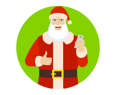 Santa Claus with mobile phone showing thumb up. Portrait of Santa Claus in a flat style. Vector illustration. Illustration
