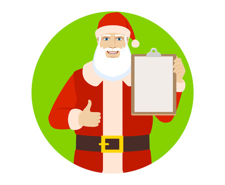 Santa Claus showing thumb up and holding clipboard. Portrait of Santa Claus in a flat style. Vector illustration.