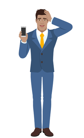 Businessman holding mobile phone and grabbed his head. Full length portrait of Black Business Man in a flat style. Vector illustration. Illustration