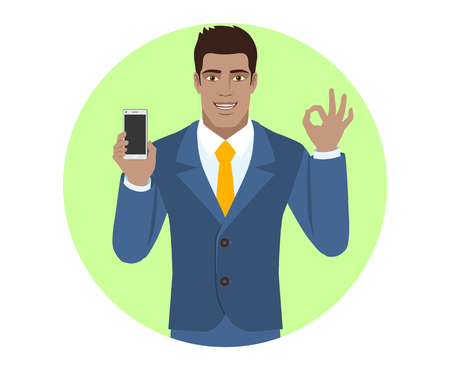 diaspora: Businessman holding mobile phone and show a okay hand sign. Portrait of Black Business Man in a flat style. Vector illustration.