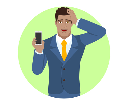 Businessman holding mobile phone and grabbed his head. Portrait of Black Business Man in a flat style. Vector illustration.