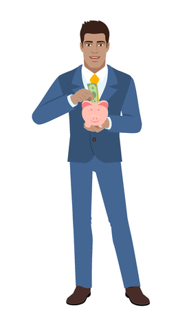 Businessman puts banknote in a piggy bank. Full length portrait of Black Business Man in a flat style. Vector illustration.
