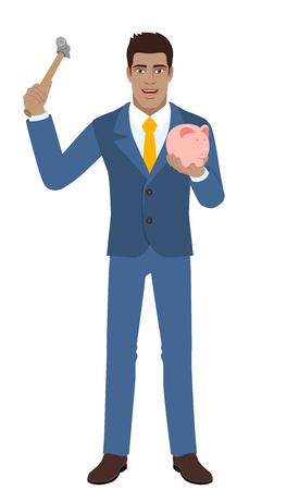 diaspora: Businessman trying to break a piggy bank Illustration