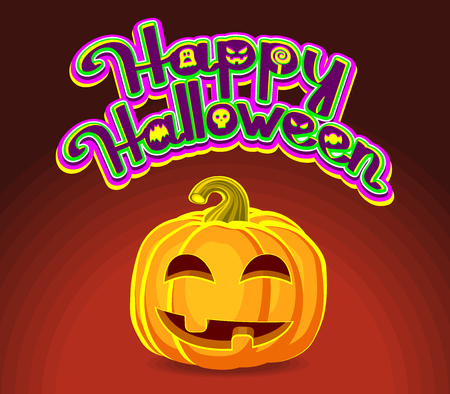 Happy Halloween! Halloween Pumpkins and holiday calligraphy greeting. Vector illustration.