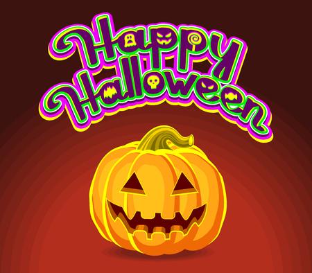 Happy Halloween! Halloween Pumpkins and holiday calligraphy greeting. Vector illustration.