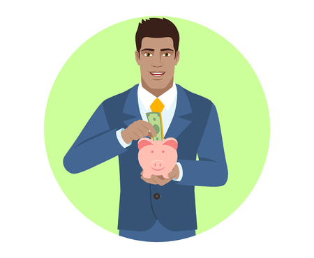 Businessman puts banknote in a piggy bank. Portrait of Black Business Man in a flat style. Vector illustration. Ilustracja