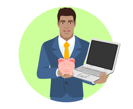 diaspora: Businessman holding a piggy bank and laptop notebook. Portrait of Black Business Man in a flat style. Vector illustration.