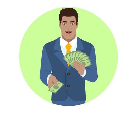 diaspora: Businessman with money. Portrait of Black Business Man in a flat style. Vector illustration.