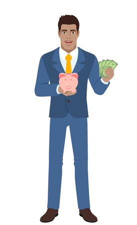 Businessman holding a piggy bank and showing a money. Full length portrait of Black Business Man in a flat style. Vector illustration.