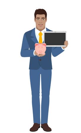 diaspora: Businessman holding a piggy bank and digital tablet. Full length portrait of Black Business Man in a flat style. Vector illustration.