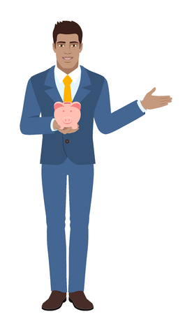 Businessman holding a piggy bank and showing something beside of him. Full length portrait of Black Business Man in a flat style. Vector illustration.