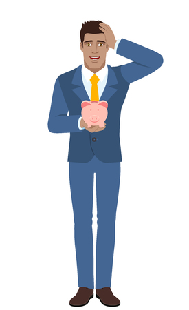 diaspora: Businessman holding a piggy bank and grabbed his head. Full length portrait of Black Business Man in a flat style. Vector illustration. Illustration