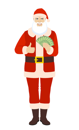 Santa Claus with cash money showing thumb up. Full length portrait of Santa Claus in a flat style. Vector illustration.