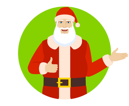 Santa Claus showing thumb up and showing something.