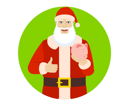 Santa Claus with piggy bank showing thumb up. Illustration