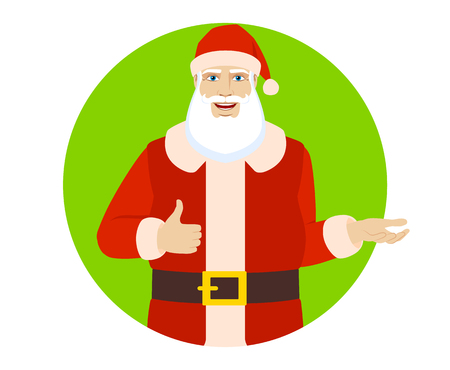 Santa Claus showing thumb up and gesticulating.