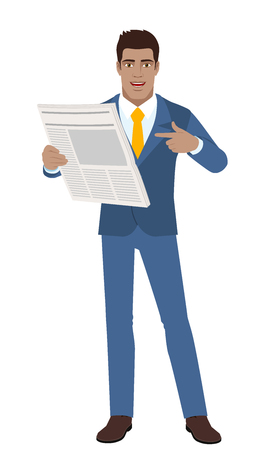 diaspora: Businessman pointing at a newspaper. Illustration