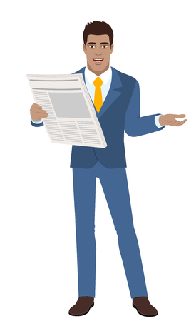 Businessman with newspaper gesturing.