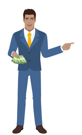 diaspora: Businessman with money showing somewhere. Full length portrait of Black Business Man in a flat style. Vector illustration.