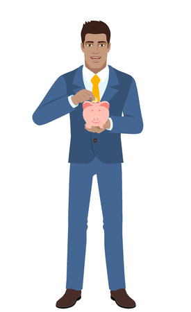 diaspora: Businessman putting a coin into piggy bank. Full length portrait of Black Business Man in a flat style. Vector illustration. Illustration