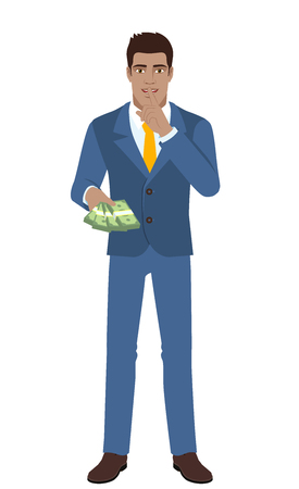 Businessman with money making hush sign. Full length portrait of Black Business Man in a flat style. Vector illustration.