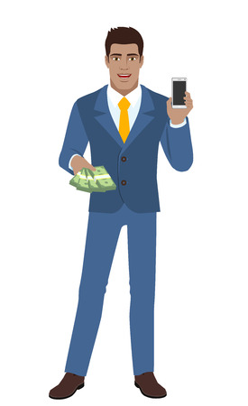 diaspora: Businessman with money holding mobile phone. Full length portrait of Black Business Man in a flat style. Vector illustration.