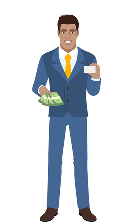 diaspora: Businessman with cash money showing the business card.  Full length portrait of Black Business Man in a flat style. Vector illustration.