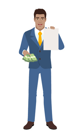 diaspora: Businessman with cash money showing the paper. Full length portrait of Black Business Man in a flat style. Vector illustration. Illustration