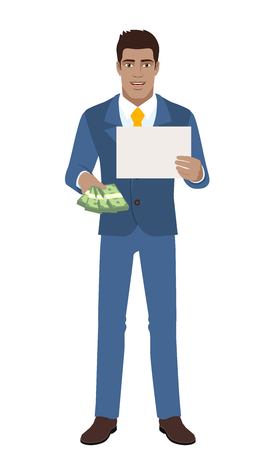 diaspora: Businessman with money showing the paper. Full length portrait of Black Business Man in a flat style. Vector illustration.