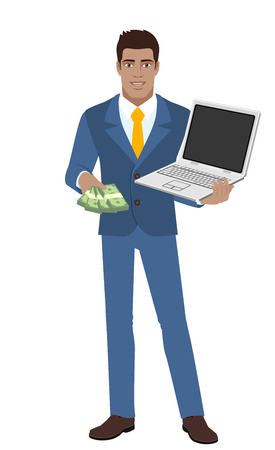 diaspora: Businessman with money holding laptop notebook. Full length portrait of Black Business Man in a flat style. Vector illustration.