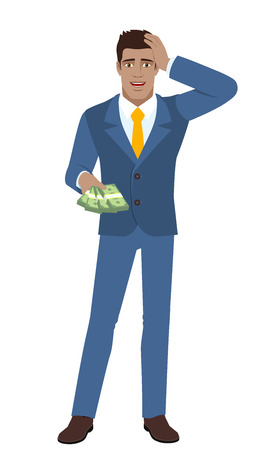 diaspora: Businessman with money grabbed his head. Full length portrait of Black Business Man in a flat style. Vector illustration.