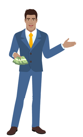 diaspora: Welcome! Businessman with money showing something beside of him. Full length portrait of Black Business Man in a flat style. Vector illustration.