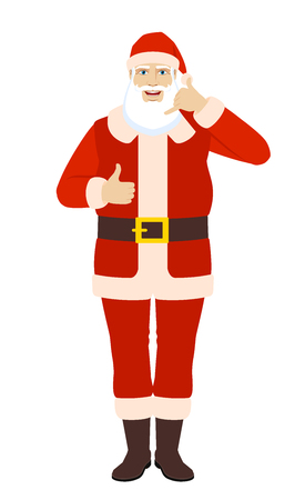 Santa Claus showing a call me sign and showing thumb up. Full length portrait of Santa Claus in a flat style. Vector illustration.