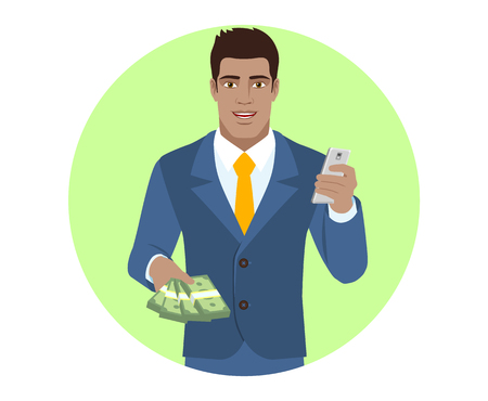 diaspora: Businessman with money using mobile phone. Portrait of Black Business Man in a flat style. Vector illustration.